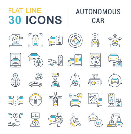 Set of vector line icons, sign and symbols with flat elements of autonomous car for modern concepts, web and apps. Collection of infographics logos and pictograms. Logo