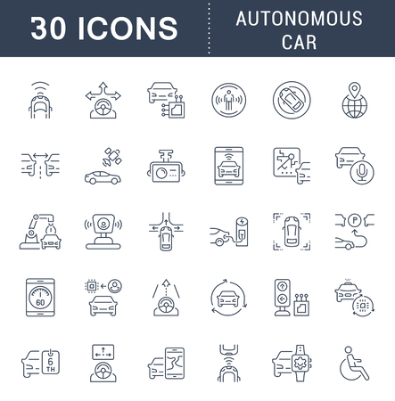 Set of vector line icons, sign and symbols of autonomous car for modern concepts, web and apps. Collection of infographics elements, logos and pictograms.
