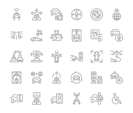 Collection of line gray icons of autonomous car. Set of vector simple concepts for creative projects and apps. Info graphics elements and pictograms.