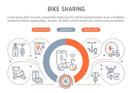 Banner di linea di bike sharing. Illustrazione vettoriale del concetto lineare di noleggio bici, moto e skateboard.