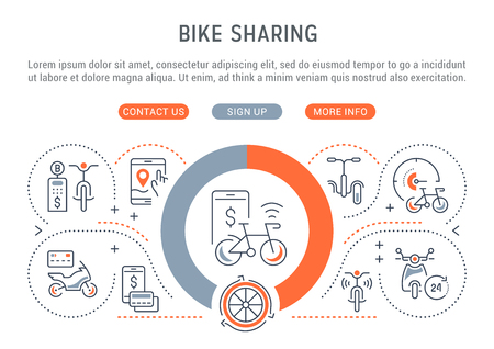 Line banner of bike sharing. Vector illustration of the linear concept of the bike, motorcycle and skateboard rent. Banque d'images - 106287938