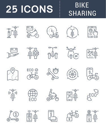 Set of vector line icons, sign and symbols of bike sharing for modern concepts, web and apps. Collection of infographics elements, logos and pictograms. Logo