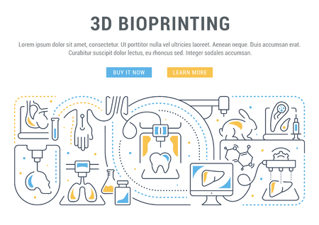 Line banner of 3D bioprinting. Vector illustration of the linear concept of the process creating the 3D model human organs and cells of living organisms. Vectores