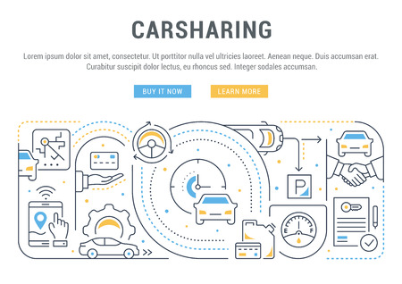 Line banner of carsharing. Vector illustration of the rent of cars.