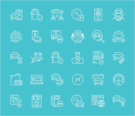 Carsharing의 흰색 선 아이콘의 컬렉션입니다. 색상 배경에 굵은 윤곽선으로 벡터 간단한 요소의 집합입니다. 정보 그래픽 표지판 및 그림 문자.