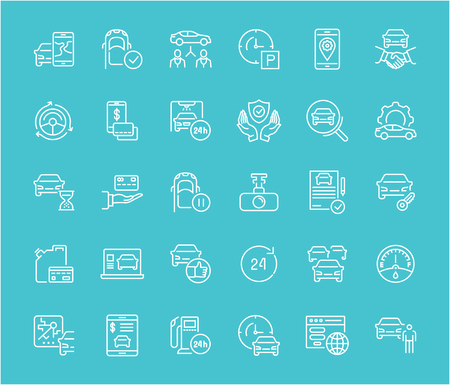 Collection of line white icons of carsharing. Set of vector simple elements with bold outlines on a color background. Info graphics signs and pictograms.