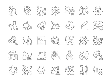 Collection of line gray icons of genome engineering. Set of vector simple concepts for creative projects and apps. Info graphics elements and pictograms. Stock Vector - 106282926