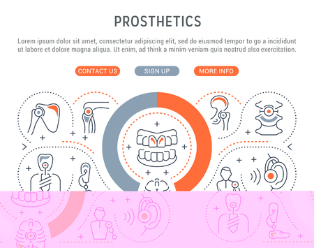 Line banner of prosthetics. Vector illustration of human prostheses.