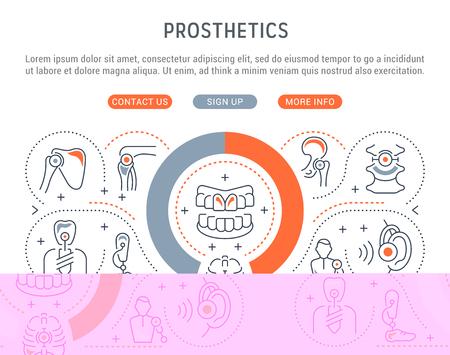 Line banner of prosthetics. Vector illustration of human prostheses.