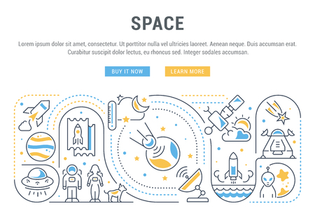 Line banner of space. Vector illustration of cosmic objects.