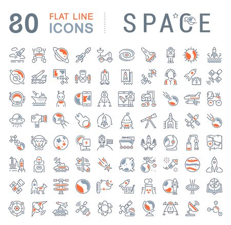 Set of vector line icons, sign and symbols with flat elements of space for modern concepts, web and apps. Collection of infographics logos and pictograms.