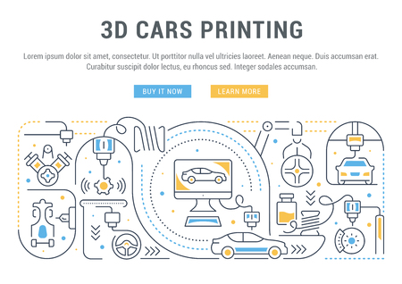 Line banner of 3D cars printing. Vector illustration of the process of creating 3D cars and spare parts. Ilustração