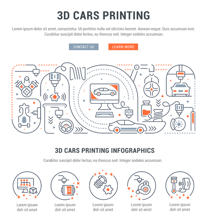 Line banner of 3D cars printing. Vector illustration of the process of creating 3D cars and spare parts. Illustration