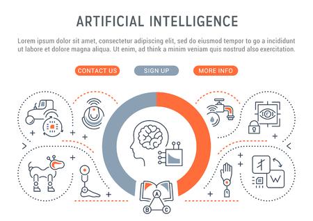 Line banner of artificial intelligence. Vector illustration of robots, technics and scientific development. Vectores