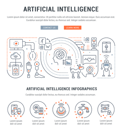 Line banner of artificial intelligence. Vector illustration of robots, technics and scientific development. Illustration