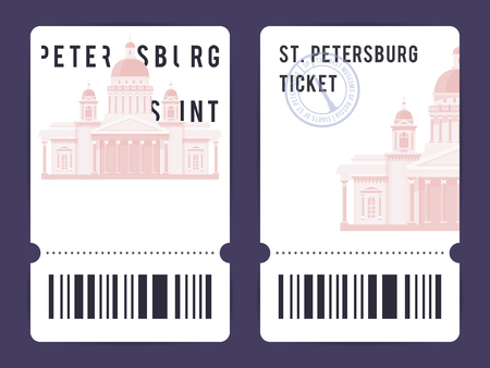 Templates of modern tickets for Russian and European museums. Illustration of Saint Isaac's Cathedral with black and white elements and the stamp. The concept for landscapes and sights.