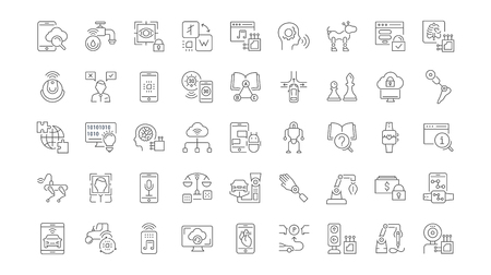 Collection of line gray icons of artificial intelligence. Set of vector simple concepts for creative projects and apps. Info graphics elements and pictograms. Illustration