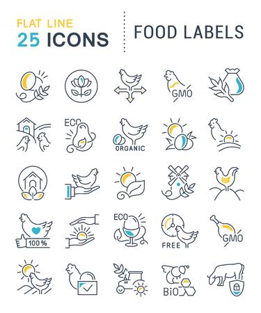 Ensemble d'icônes de ligne vectorielle d'étiquettes alimentaires pour les concepts modernes, le web et les applications. Vecteurs