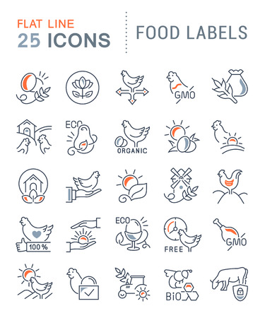 Set of vector line icons of food labels for modern concepts, web and apps.