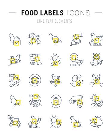 Ensemble d'icônes et de signes de ligne vectorielle avec des carrés jaunes d'étiquettes alimentaires pour d'excellents concepts. Collection de logos et pictogrammes infographiques.