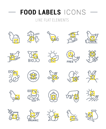 Set of vector line icons and signs with yellow squares of food labels for excellent concepts. Collection of infographics logos and pictograms.