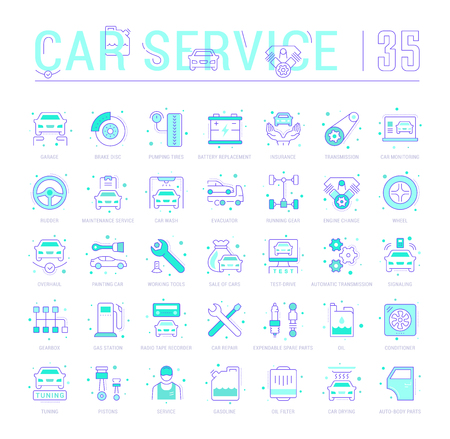 Collection of vector flat icons with thin line elements of garage and car service. Set of clean design, and outline signs. Simple linear infographics and pictograms pack for web graphics and apps. Illustration