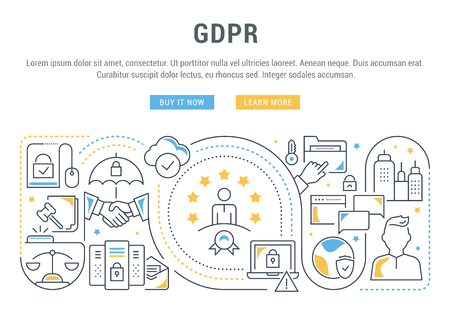 Line banner of the GDPR. Vector illustration of the personal data protection.