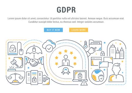 Banner de línea del RGPD. Ilustración de vector de la protección de datos personales.