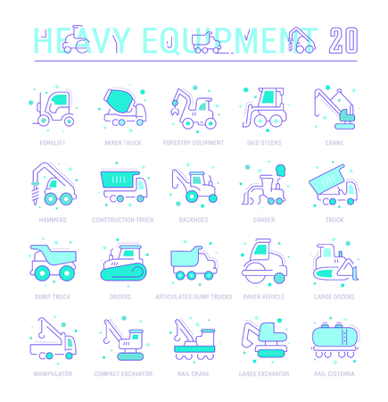 Collection of vector flat icons with thin line elements of heavy equipment. Set of clean design, and outline signs. Simple linear infographics and pictograms pack for web graphics and apps.