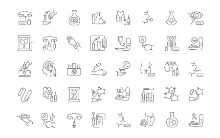 Set of vector line icons of in vitro for modern concepts, web and apps.