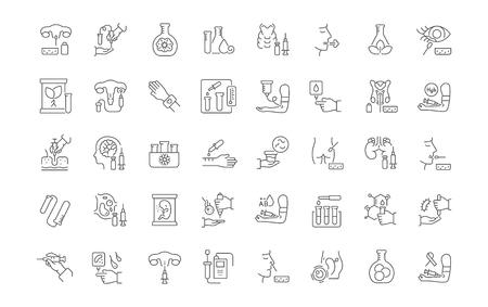 Zestaw ikon wektorowych linii in vitro dla nowoczesnych koncepcji, sieci i aplikacji.
