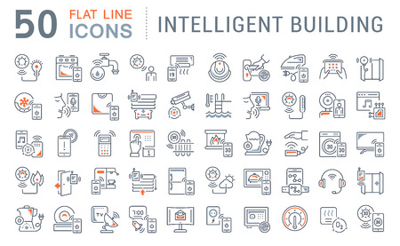 Set of vector line icons of intelligent building for modern concepts, web and apps.