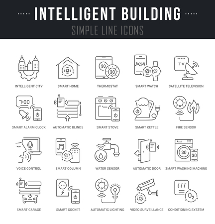 Set of linear icons of intelligent building with names.