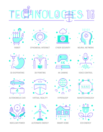 Collection vector flat icons with thin line elements. Set of clean design, outline signs and symbols of future technologies. Simple linear infographics and pictogram pack for web graphics and apps.