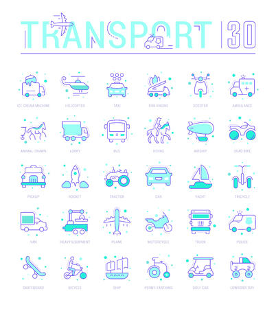 Collection of vector flat icons with thin line elements of means of transport. Set of clean design, and outline signs. Simple linear infographics and pictograms pack for web graphics and apps. Illustration