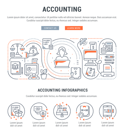 Line banner of accounting. Vector illustration of the office and accounting tools.  イラスト・ベクター素材