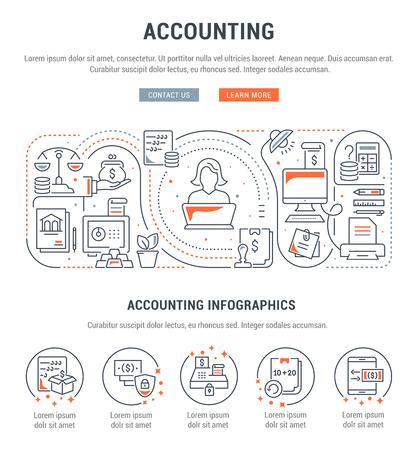 Banner de línea de contabilidad. Ilustración de vector de las herramientas de oficina y contabilidad.