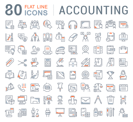 Conjunto de iconos de líneas vectoriales de contabilidad para aplicaciones, web y conceptos modernos.