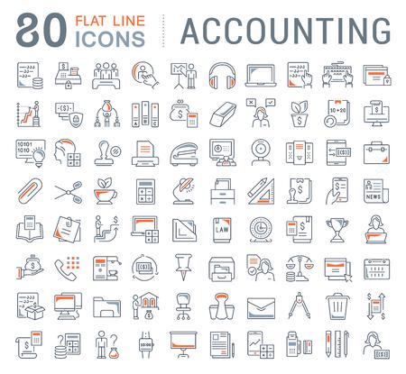 Zestaw ikon linii wektora rachunkowości dla nowoczesnych koncepcji, sieci i aplikacji.