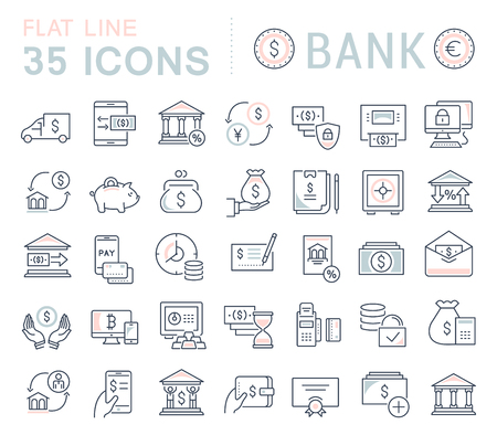 Set of vector line icons of bank for modern concepts, web and apps. Ilustración de vector