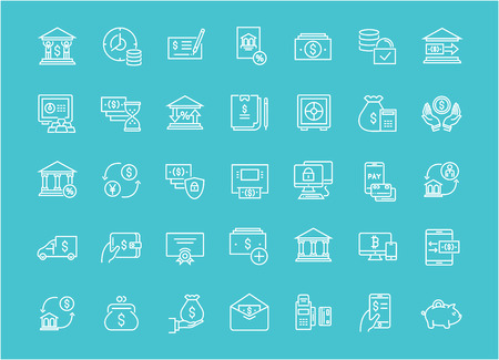 Collection of line white icons of bank. Set of vector simple elements with bold outlines on a color background. Illustration