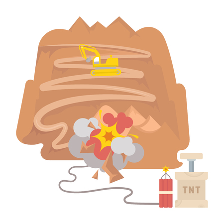 Vector illustration in flat style. The quarry on white background. The explosion of dynamite in the mountains.