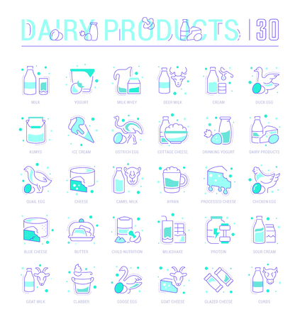 Collection of vector flat icons with thin line elements of dairy products. Set of clean design, and outline signs. Simple linear infographics and pictograms pack for web graphics and apps. Ilustração