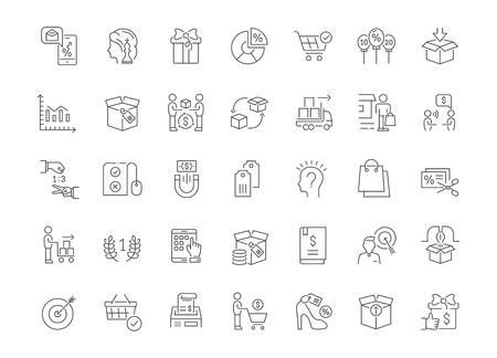 Collection of line gray icons of marketing. Set of vector simple concepts for creative projects and apps. Info graphics elements and pictograms.