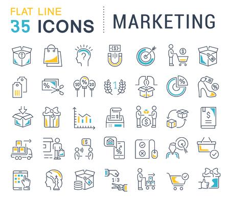 Set of vector line icons of marketing for modern concepts, web and apps. Vektoros illusztráció