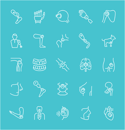 Collection of line white icons of prosthetics. Set of vector simple elements with bold outlines on a color background. Info graphics signs and pictograms.