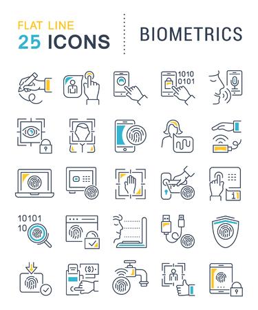 Conjunto de iconos de líneas vectoriales de biometría para aplicaciones, web y conceptos modernos.