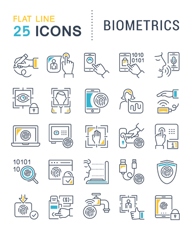 Set of vector line icons of biometrics for modern concepts, web and apps.