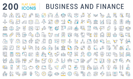 Conjunto de iconos de líneas vectoriales de negocios y finanzas para aplicaciones, web y conceptos modernos.