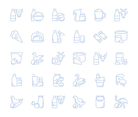 Set of vector line icons, sign and symbols of dairy products for modern concepts, web and apps. Collection of infographics elements, logos and pictograms.